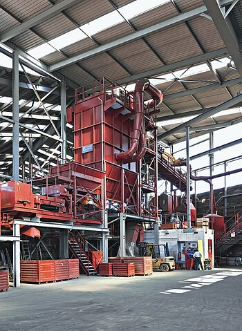 Dust collection plant for electronic scrap processing