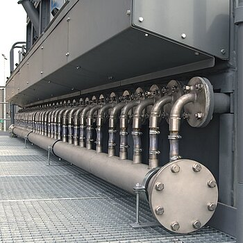 Dry extinguishing line on filter plant