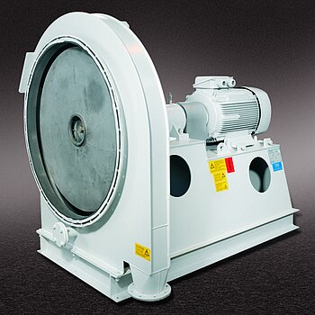 Coupling-driven high-pressure fan in gas-tight construction, with high-grade steel impeller